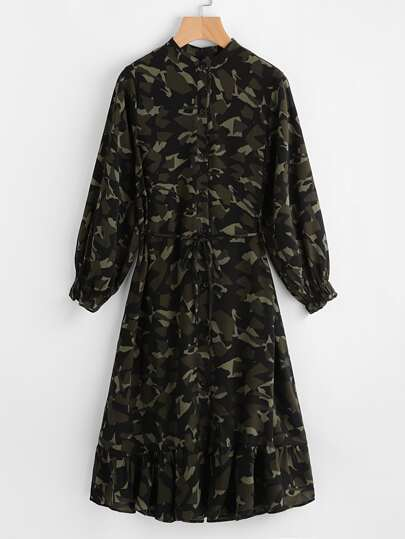 Lantern Sleeve Frill Hem Camo Shirt Dress