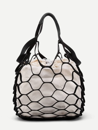 Net Design Drawstring Tote Bag