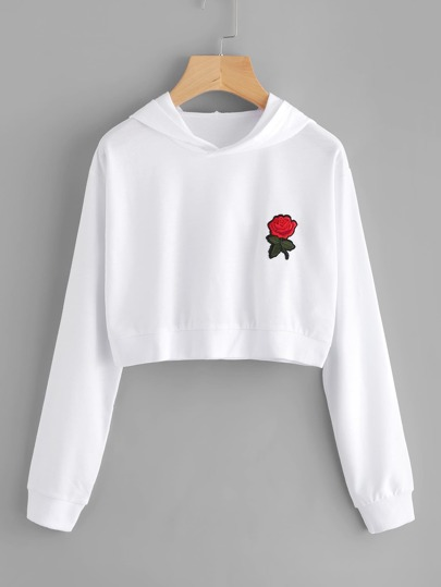 Rose Embroidered Patch Crop Hoodie