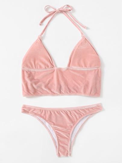 Halter Velvet Bikini Set