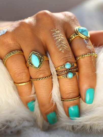 Turquoise Design Ring Set 8pcs