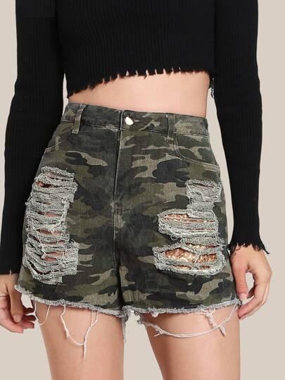 Sequin Pocket Camo Shorts CAMO GOLD