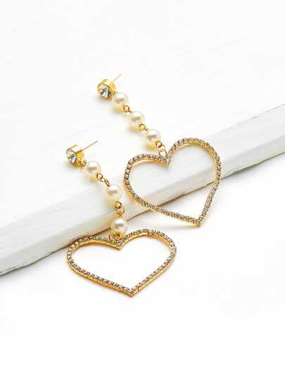 Faux Pearl & Rhinestone Decorated Heart Shaped Earrings