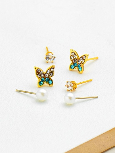 Rhinestone Butterfly Stud Earrings 6pcs