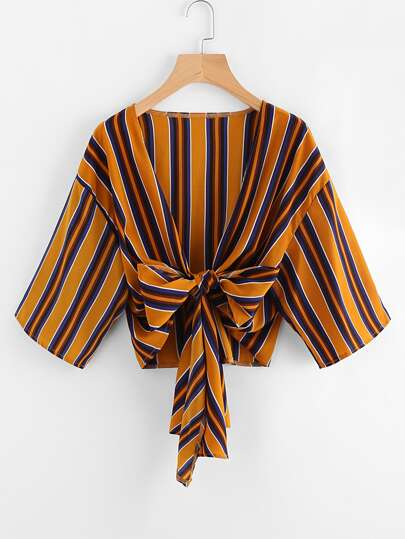 Drop Shoulder Knotted Hem Striped Kimono