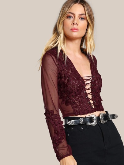 Lace Up Sheer Crop Top BURGUNDY