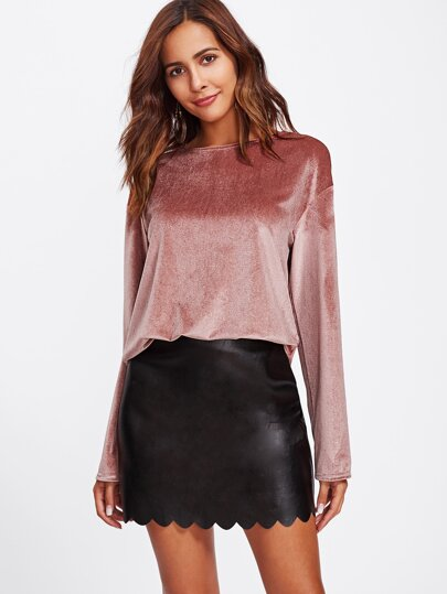 Drape Back Velvet Top