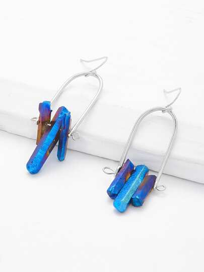 Geometric Stone Design Drop Earrings