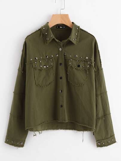 Rivet Detail Raw Trim Jacket
