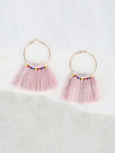 Tassel Hoop Earrings PINK