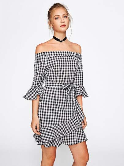 Bardot Frill Trim Overlap Gingham Dress