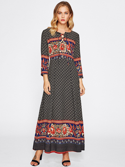 Lace Up Front Mixed Print Dress