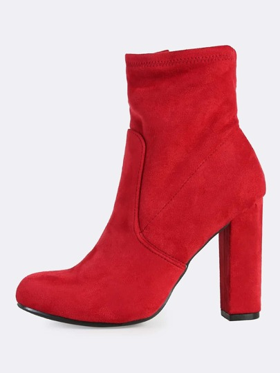 Faux Suede Heel Booties RED