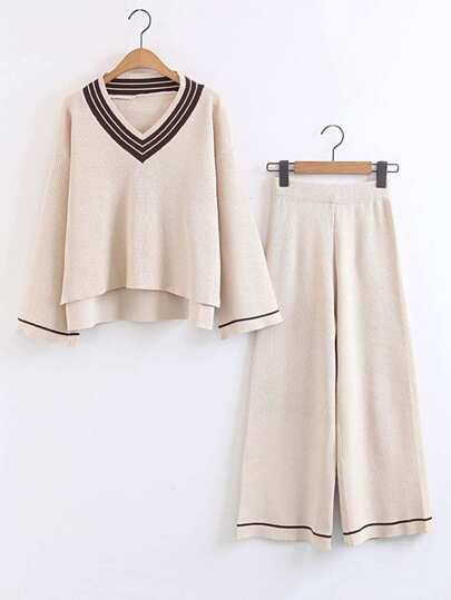 Bell Sleeve High Low Sweater With Wide Leg Pants