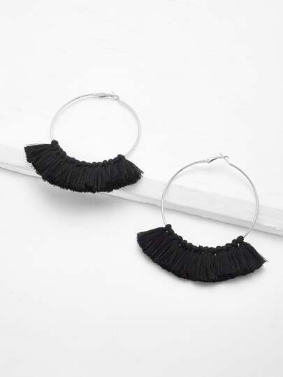Tassel Detail Hoop Earrings