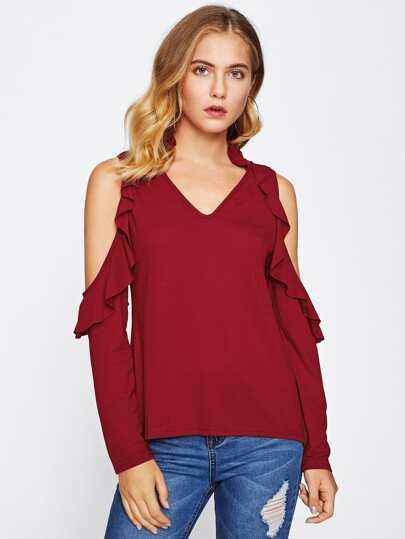 V-neckline Open Shoulder Frill Trim Tshirt