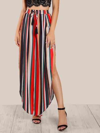 Tasseled Tie Slit Striped Curved Palazzo Pants