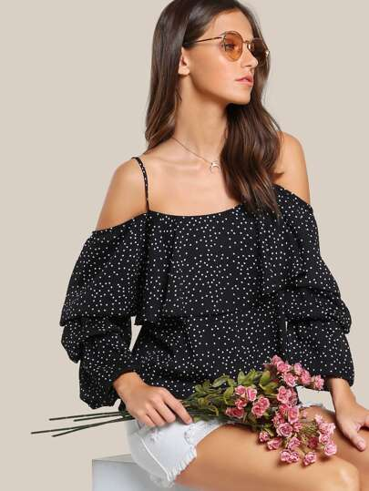 Cold Shoulder Polka Dot Top BLACK WHITE