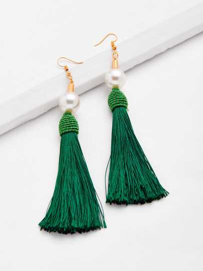 Faux Pearl Top Tassel Drop Earrings