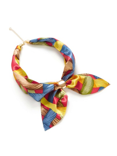 Graphic Print Satin Neckerchief
