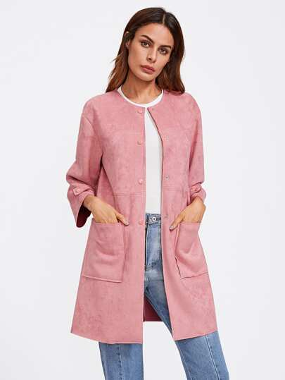 Patch Pocket Front Suede Coat
