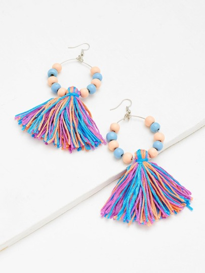 Tassel Charm Earrings With Wood Beads