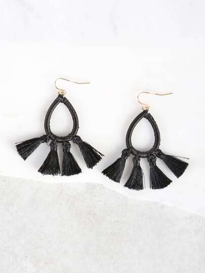 Loop and Tassel Earrings BLACK