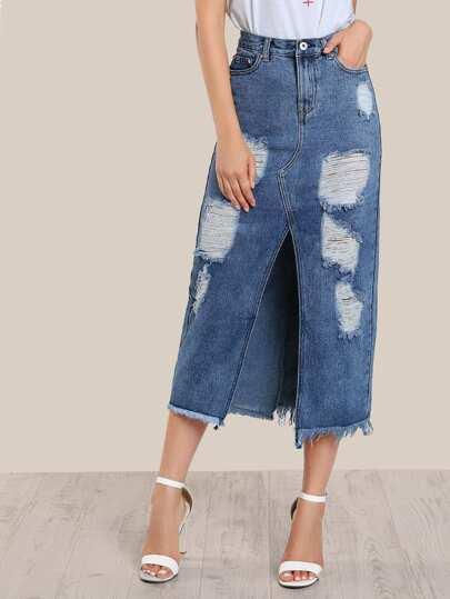 Floor Length Distressed Skirt DENIM