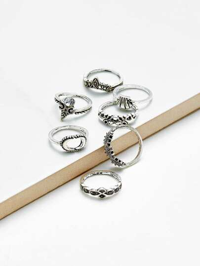 Multi Shaped Retro Ring Set 7pcs