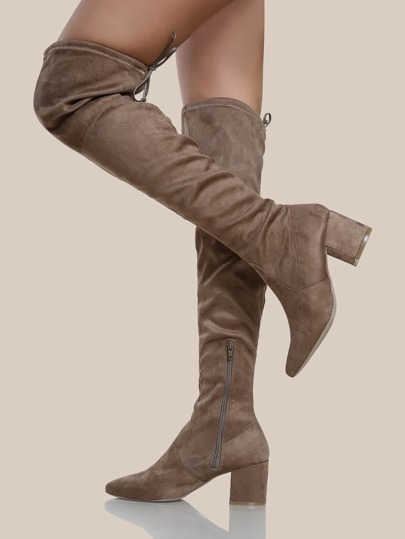 Faux Suede Chunky Heel OTK Boots TAUPE