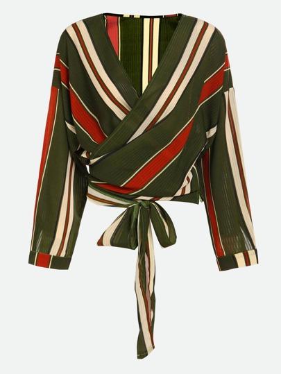 Top de rayas con cordón y escote de estilo sobrepelliz