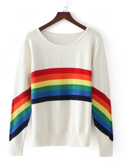 Suéter de rayas con ribete de canalé