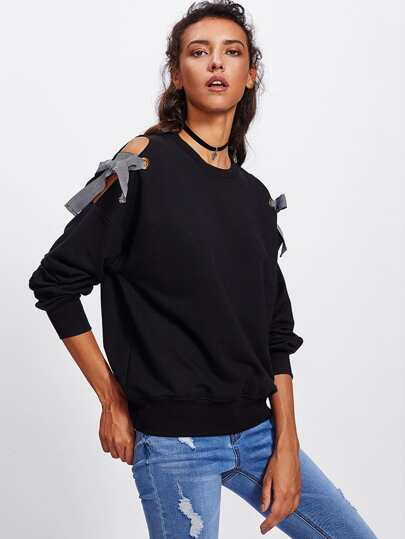 Bow Tie Open Shoulder Pullover