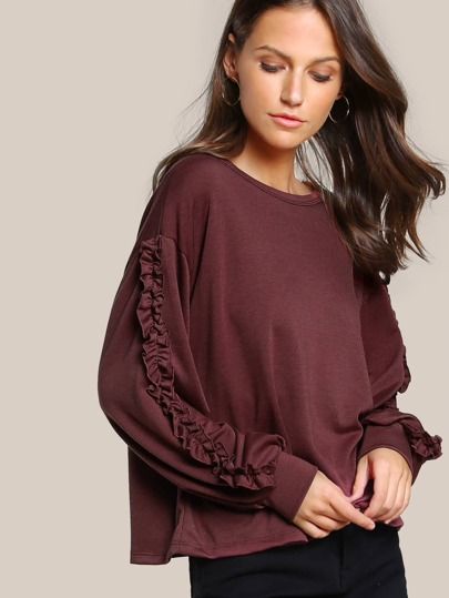 Ruffle Long Sleeve Top BRICK