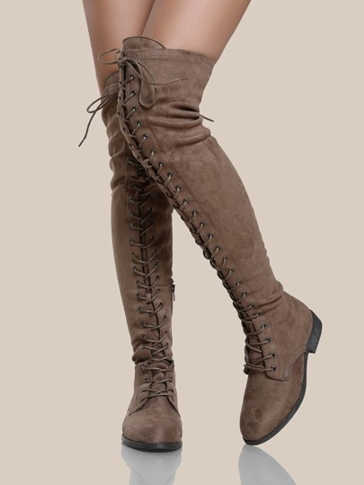 Faux Suede OTK Lace Up Boots TAUPE