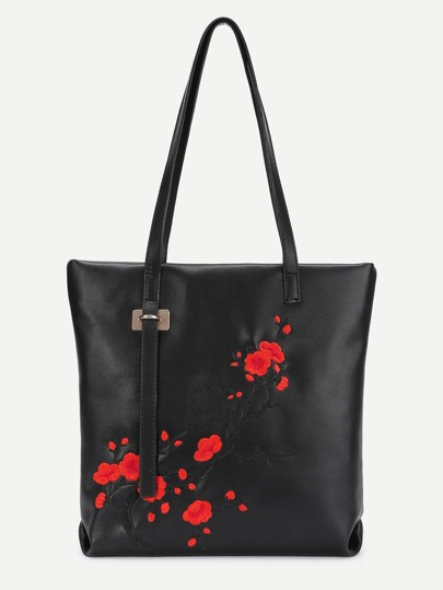 Plum Blossom Embroidered PU Tote Bag