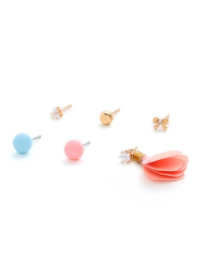 Bow & Ball Design Stud Earring Set