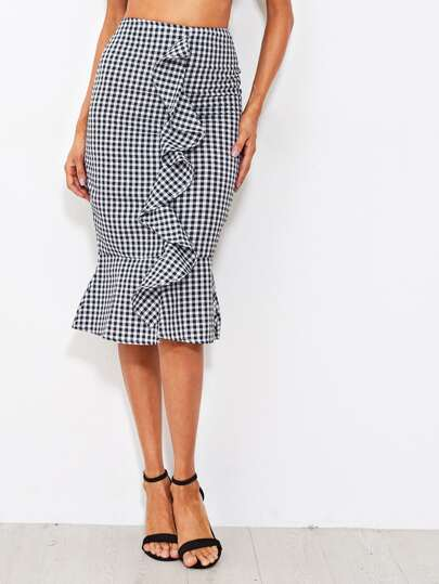 Gingham Frill Trim Fishtail Hem Skirt