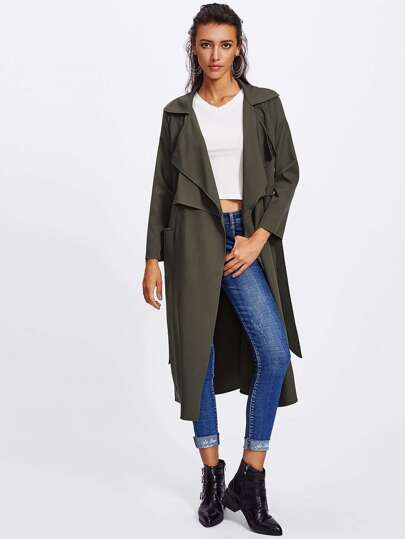 Patch Pocket Front Self Belted Layered Coat