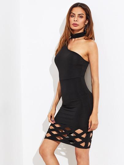 Geo Cut Out Choker One Shoulder Dress