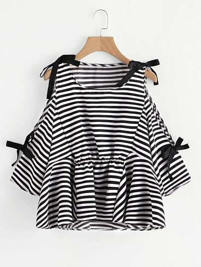 Contrast Striped Open Shoulder Bow Tie Detail Top