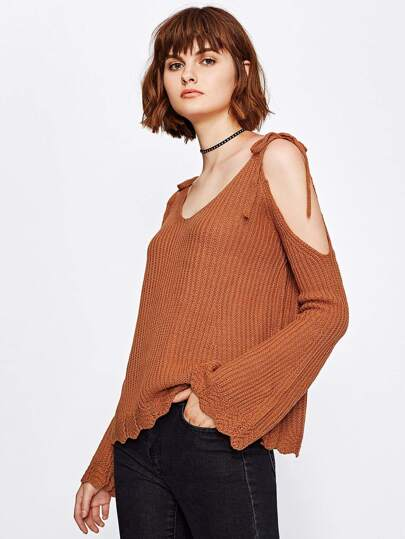 Open Shoulder Tie Detail Wave Trim Sweater