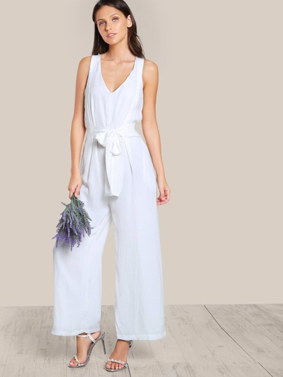 Solid Sleeveless Jumpsuit WHITE