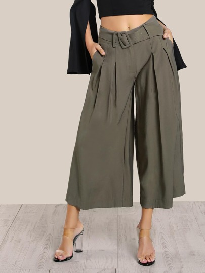 High Rise Pleated Flare Leg Pants OLIVE