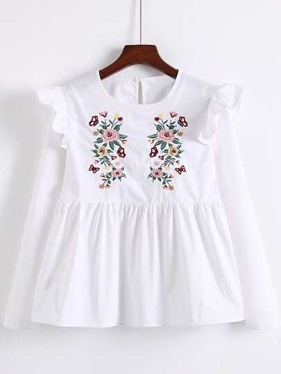 Flower Embroidery Frill Trim Top