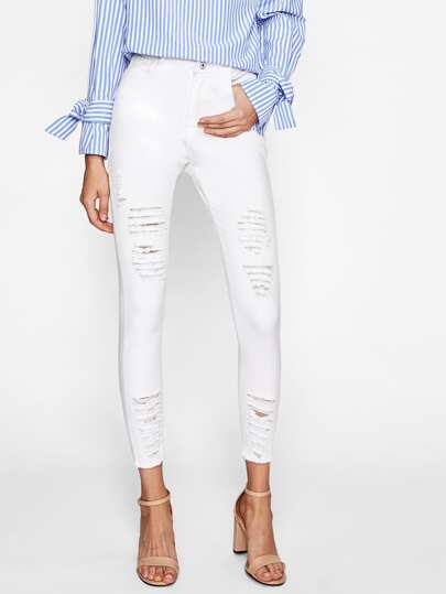 Raw-Cut Distressed Skinny Jeans