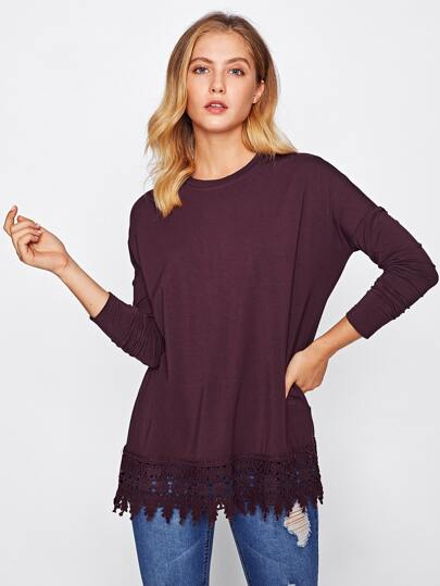 Drop Shoulder Crochet Trim Tee
