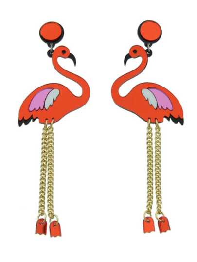Red Color  Acrylic Flamingo Shape Statement Earrings