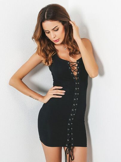 Grommet Lace Up Front Bodycon Dress