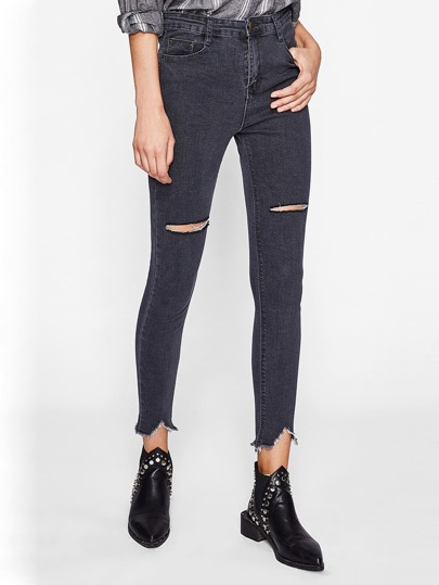 Knee Rips Frayed Hem Jeans